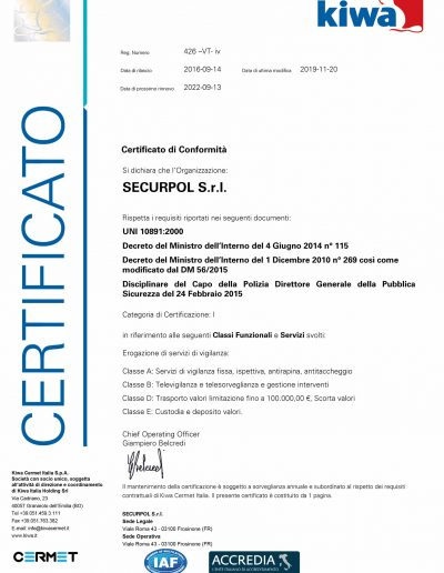 Securpol - Certificazioni - UNI 10891:2000